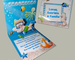 Convite Mini Pop Up - Fundo do mar