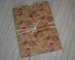Envelope Estampado Kraft Flor Vintage
