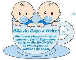 Convite De Chá De Bebê Para Gêmeos Elo7