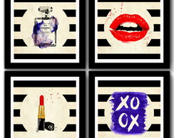 Kit 4 Quadros Fashion Chanel