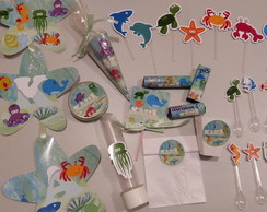 KIT FESTA PERSONALIZADA FUNDO DO MAR