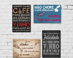 Placas Decorativas MDF 20x30 Vinho 4un
