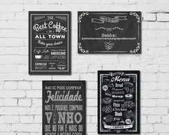 Kit 4 Placas Decorativas Frases em Giz