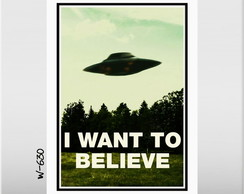 Quadro Arquivo X Want To Believe 70x50cm Serie Filme Tv