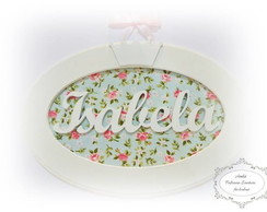 Quadro MDF Oval Floral