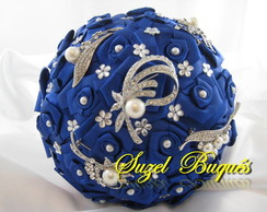 Buquê de Noiva Azul Royal - c/ 5 Broches