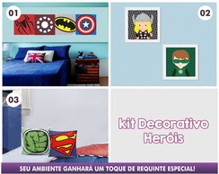 Kit Decorativo Heróis 05 pçs