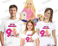 Kit 3 Camiseta Aniversario Barbie Boneca