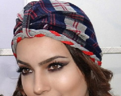 Turbante Xadrez com Headband