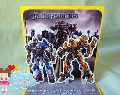 Convite Pop Up - Transformers