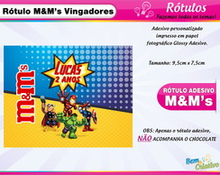 Rótulo M&M Vingadores Cute