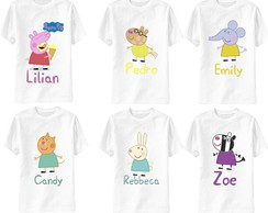 kit 6 camisetas peppa pig amigos