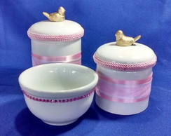 Kit Potes Porcelana Decorados Fitas Rosa