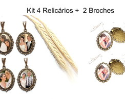 kit 4 relicários + 2 broches com foto
