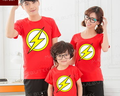 kit camiseta Flash vermelhas Herois c/3