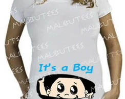 Camiseta Gestante bebe menino it's a boy