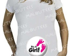 Camiseta Bata Gestante bebe It's a Girl