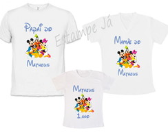 Kit 3 Camisetas Turma do Mickey