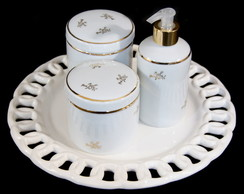 Conjunto Porcelana Filete Arabesco Ouro