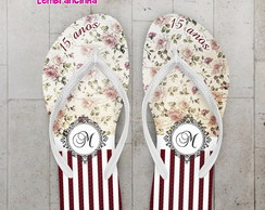 Chinelo 15 anos Floral Personalizado