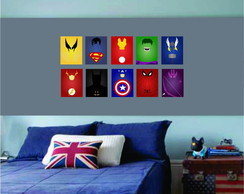 Kit Placas Decorativas Heroes Vingadores