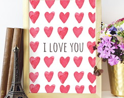 Poster Aquarela I Love You