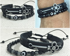 Kit 2 Pulseiras Couro Pedra Onix Chave