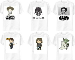 kit 6 camisetas Star Wars familia