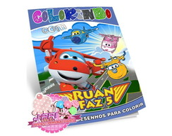 Kit Colorir Super Wings + Giz de Cera