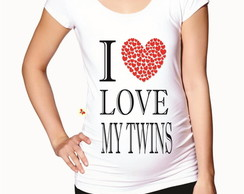 Blusa gestante babylong I love my twins