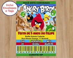 Convite Angry Birds com envelopes e tag