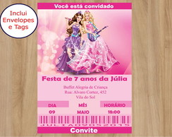 Convite Barbie com envelopes e tag