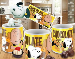Caneca Snoopy Chocolate com amendoim