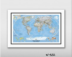 Quadro 60x40cm National Geo Mapa Mundi