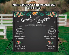 Painel casamento Chalkboard Floral DIGIT