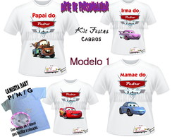 Kit de Camisetas dos Carros Disney.