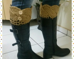 Mini polaina com Trança (Boot cuffs)