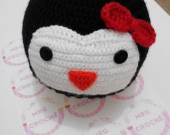 Touca/gorro pinguim de crochê