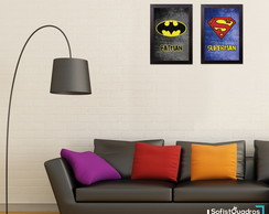 Kit Quadro Decorativo Batman x Super-man