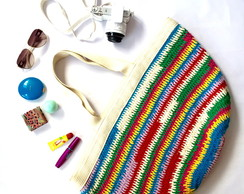 Bolsa crochet grande colorida multicolor
