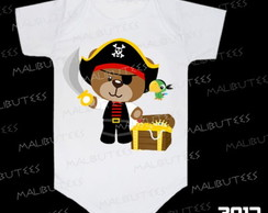 Body Urso Pirata Ursinho Tesouro Pirata