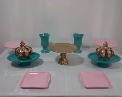 Kit porcelanas tiffany/rosa/dourado Loc.
