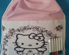 Mochila Pinte e Lave Hello Kitty