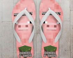 Chinelo Infantil Minecraft Porco