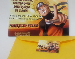 Convite Naruto com Envelope Color