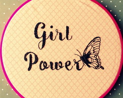 Quadro Bordado Girl Power