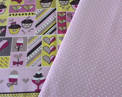 Kit 2 Tecidos Fat Quarter Sorvetes/Poá Rosê