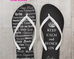 Chinelo 15 anos Keep Calm Prata