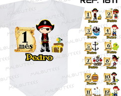 Kit 12 Body bebe Mês a Mês Piratas