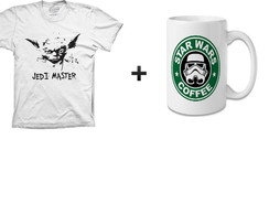 kit 1 camiseta + 1 caneca star wars